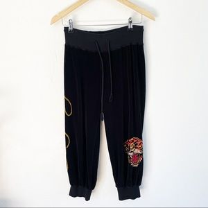 Ed Hardy black velour crop tiger pants